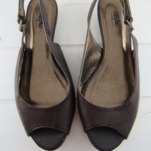 Mossimo Brown Leather Slingback Sandals size 6 B
